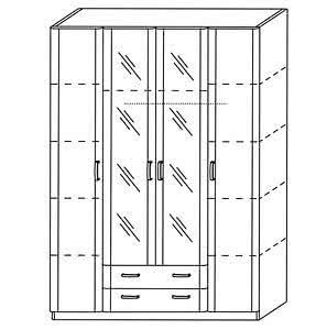Шкаф лотос 4-х дверный с зеркалом 8.04