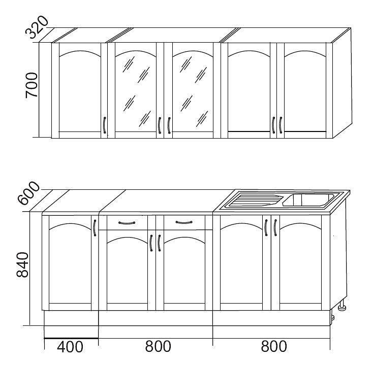 Кухонный гарнитур Трапеза 2000