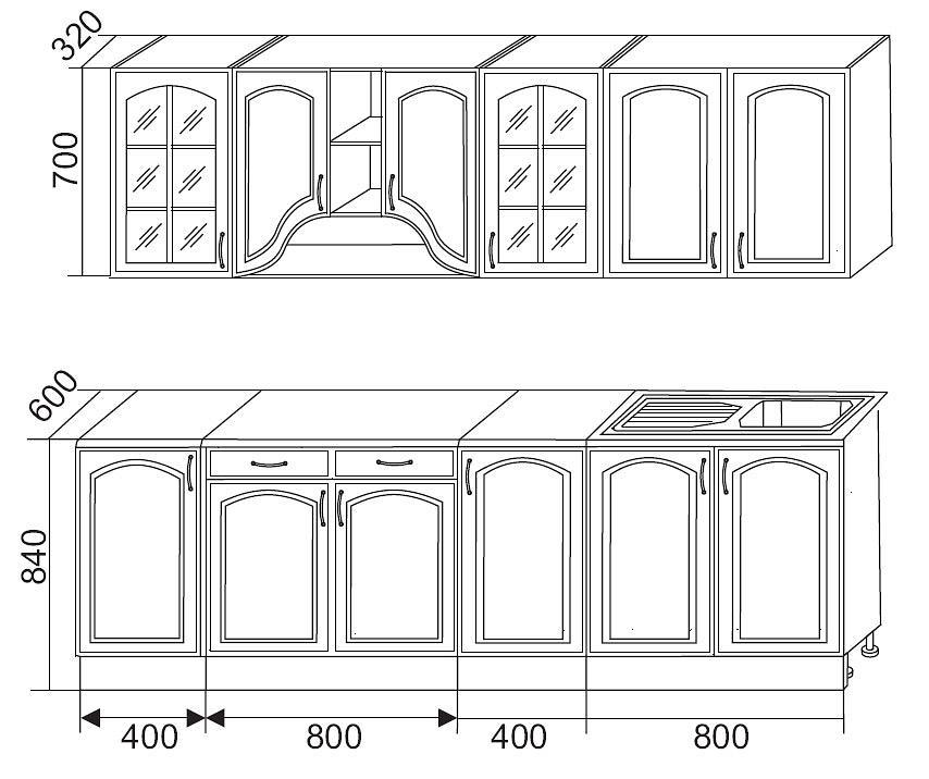 Схема кухни Трапеза 2400 мм с нишей