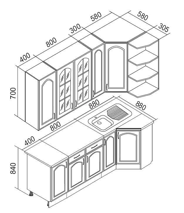 Схема кухни Трапеза 900х2100 мм