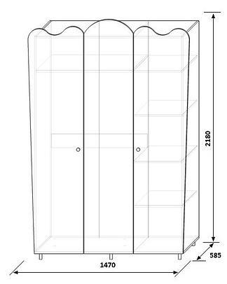 Шкаф для одежды 3Д (без зеркал) КМК Волшебница, 0385.1